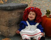 Raggedy Ann baby  Costume with wig and stripe socks