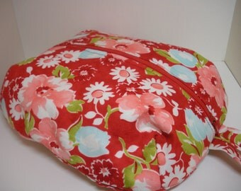 Red Floral Zippered Ditty Bag - Large