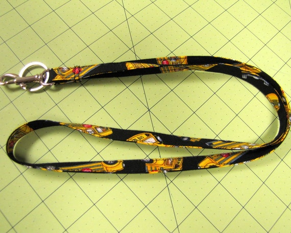Trimline Lanyard ID Badge Holder School Bus Pattern Fun Fashion Fabric