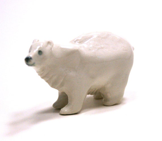 bear figurine - standing polar bear - porcelain animal