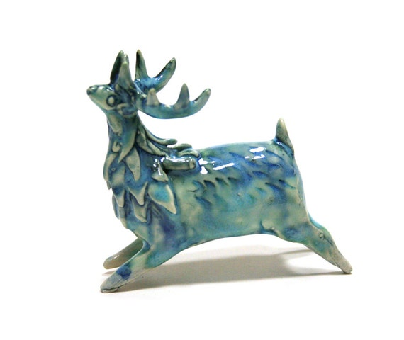 deer sculpture deep blue deer running in the rain- stag of the rains porcelain figurine