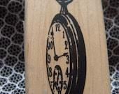 White Rabbit Pocket Watch Rubber Stamp