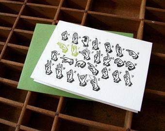 letterpress card sign language hi