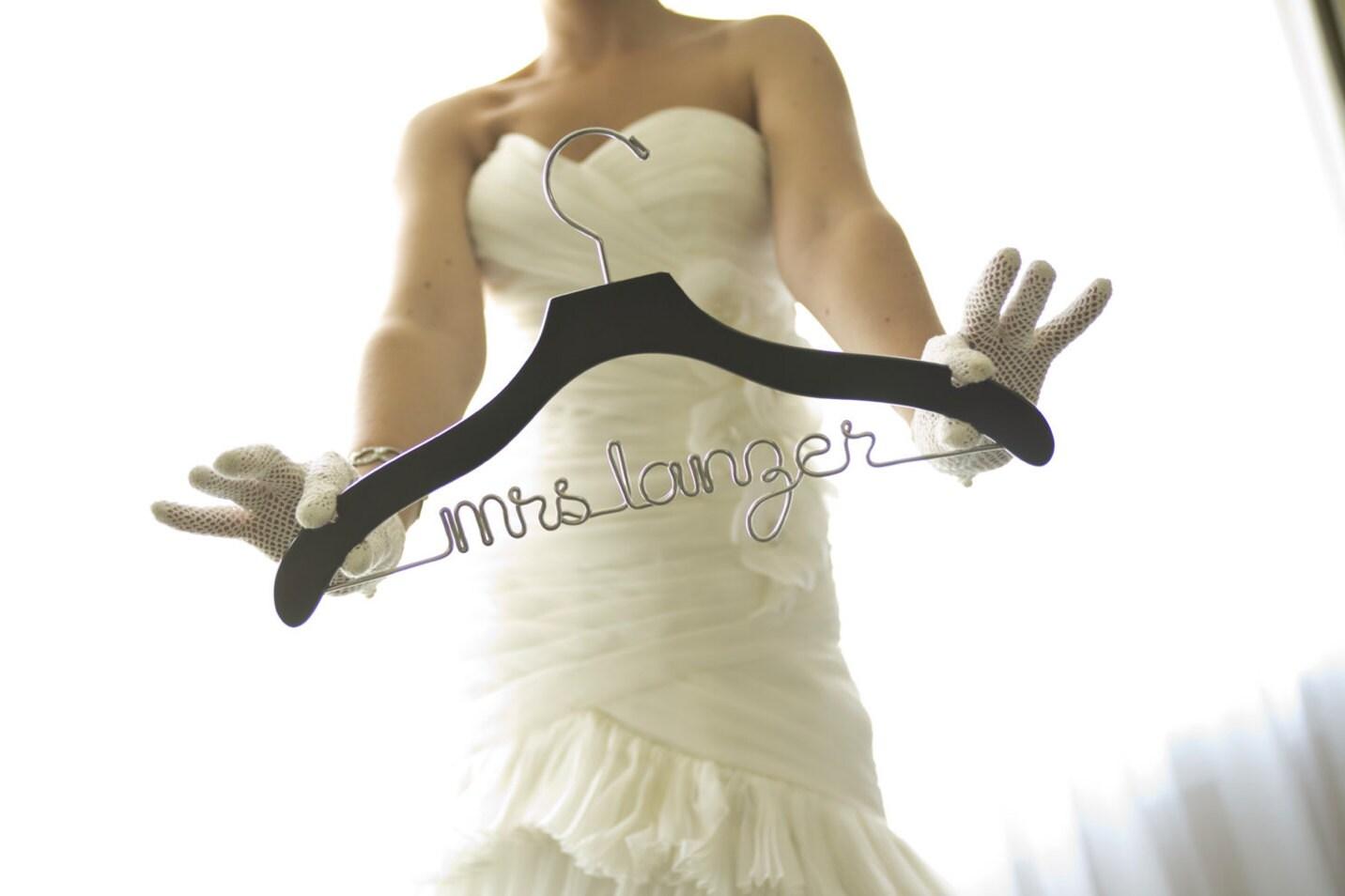 Wedding hanger personalized hanger custom hanger bride for Bride wedding dress hanger