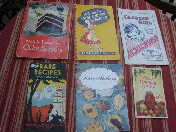 6 Vintage 1930s -40s Era Advertising Cookbooks Booklets Royal Baking Powder Clabber Girl Swans Down Flour