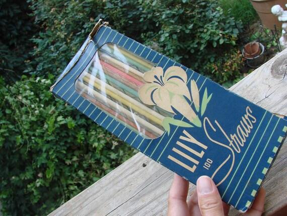 Box of Vintage Lily Brand Straws