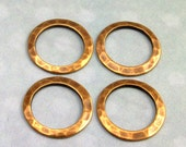 Small Hammered Ring Connector Antique Brass, 13 MM 4-Pc. AB50