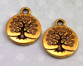 TierraCast Tree Of Life Charm, Antique Gold 2-Pc. TG17
