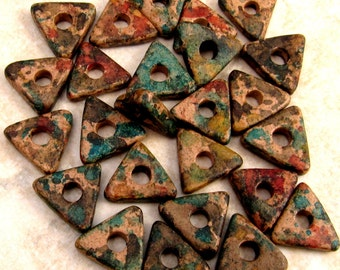 Greek Ceramic Triangle Washer Beads 10 mm Autumn Rust, 25-Pieces M148