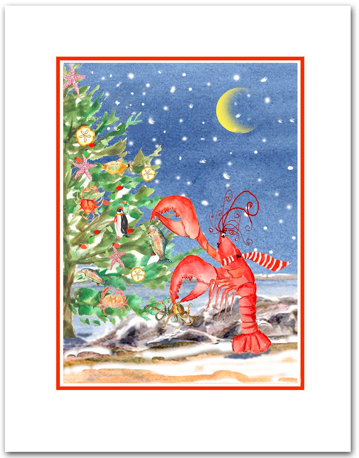 Lobster trimming the tree Christmas cards. set of 10. boxed