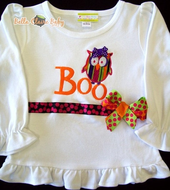 SALE Size 2 only ready to ship BOO HOOTs monogrammed owl Halloween Long Sleeved girly frill shirt for girl toddler