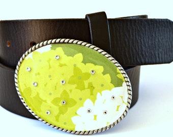 Belt Buckle Green Hydrangea