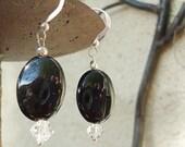 SALE, Black & Crystal Earrings