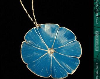 True Blue Morning Glory -- Upcycled Tin Necklace
