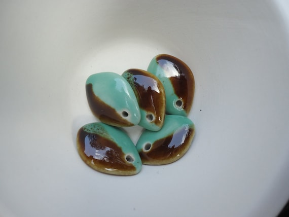 Green and Brown Puffed Teardrop Beads
