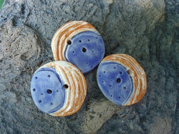 3 New Moon Glazed  Buttons
