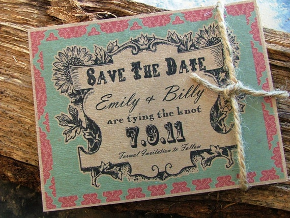 Save the date cards: rustic, country wedding awesomeness  - as seen in many magazines