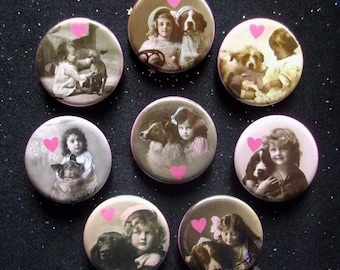 """I Heart My Dog 1.25"""" Magnets or Pinback Buttons - Set of 8"""