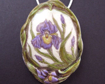 Purple iris  scrimshaw technique pin pendant brooch