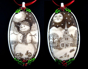 Snowman Christmas tree ornament bunny rabbit church moon