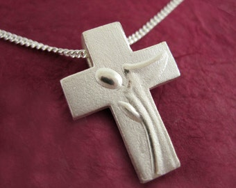 Silver Angel Cross Necklace, Angel Jewelry, Guardian Angel Pendant with Chain - Spiritus Collection