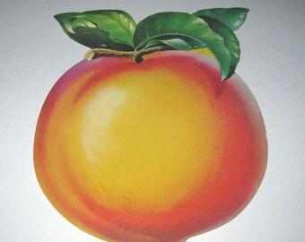 Vintage 1950s Dennison Peach Die Cut Cardboard Decoration