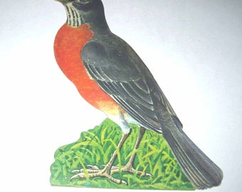 Vintage Die Cut Cardboard Robin Bird Decoration by Dennison