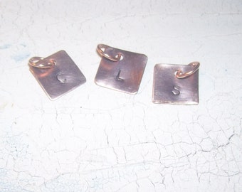 Made to Order 3 Copper or Brass Initial Charms