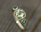 Ready To Ship Size 8, Asscher Cut Beryl and Green Tourmaline Ring in 14k Yellow Gold, Three Stone Ring