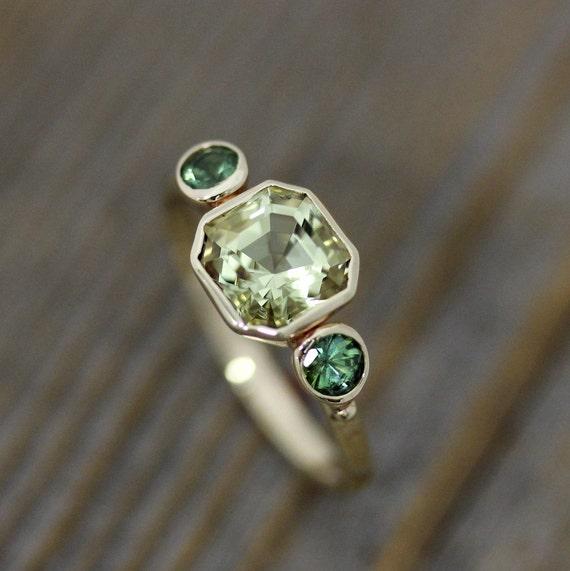Asscher Cut Beryl And Green Tourmaline Ring In 14k Yellow