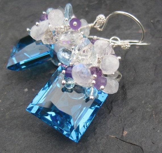 Swiss blue topaz earrings sterling silver moonstone sky blue topaz amethyst statement dangle gemstone jewelry mermaid style --Antigua--