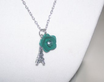 Eiffel Tower Necklace with Green Flower