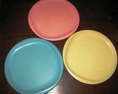 Vintage 1970's BOONTONWARE Plates, Pastel Yellow, Pink & Blue, Like retro 70's  Texas Ware, Melmac - Melamine
