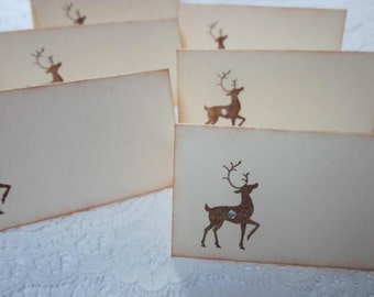 Name Place Cards - Christmas Reindeer - Place Cards Table Cards Party - Food Buffet - 6
