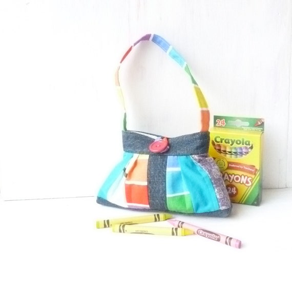 Patchwork Toy Purse - Cute Little Girl Bag - Girls Purse with Pleats - Recycle Denim