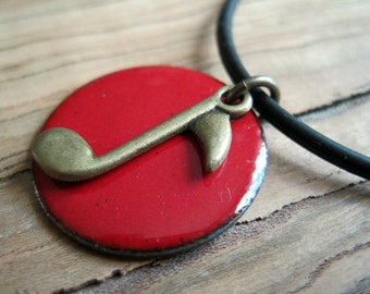 Music Note Necklace, Red Enamel on Copper Necklace, Handmade Pendant, Music Lover