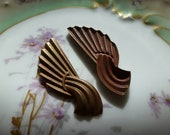 Large Vintage Stampings, 1940s Art Deco Style Ribbed Flourish Unplated Raw Brass Jewelry Findings or Embellishments, 62x21mm, 2 pcs. (C23)