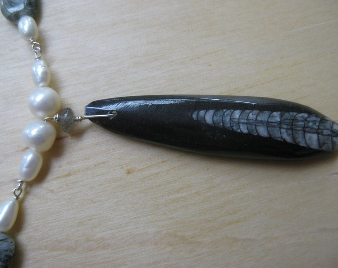 Insouciant Studios Orthoceras Necklace Fossil Pearl