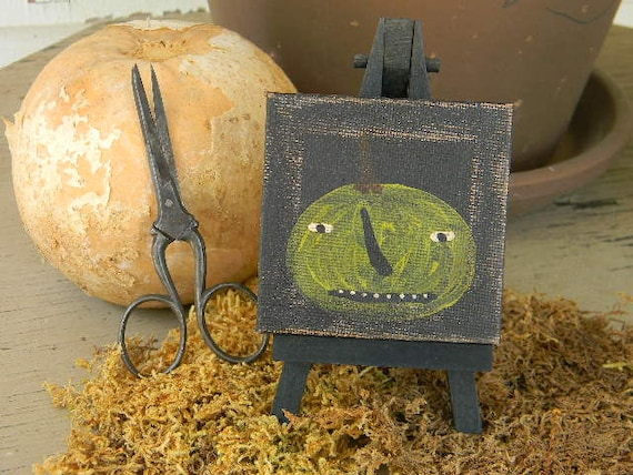 "Little Folk Art Painting from Notforgotten Farm - ""Green Jack number 2"""