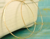 14kt Yellow Gold Filled Textured Earring Hoops - Oversized 65mm