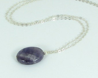Chevron Amethyst and Sterling Silver Chain Pendant