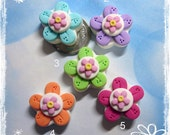 Bright Flower Polymer Clay Charm Bead Scrapbooking Embelishment Bow Center Pendant Cupcake Topper
