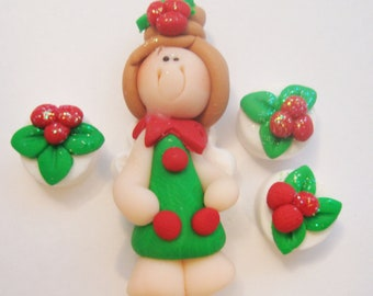 Mini Set wt Spacer -X'mas Fairy - Polymer Clay Charm Bead Scrapbooking Embelishment Bow Center Pendant Cupcake Topper