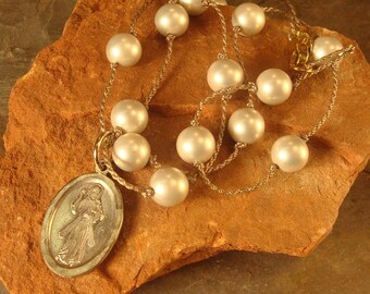Tin Cup Necklace, Swarovski Pearl Necklace, Pearl on Silk Necklace, Religious Medal Necklace