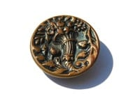 Antique Button Cornucopia Container Flowers Picture Brass L1293