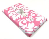 White and Pink Damask Light Switch Cover Girls Nursery Decor Bedroom Decoration French Style