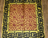 Vintage Echo ethnic print 20 and 1/2 by 23 inch square scarf, 1970s Black, chocolate brown, gold, Bonus brooch included