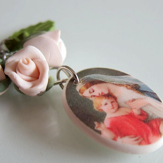 White Rose Mother Mary Purse Charm - Polymer Clay