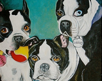Custom commission DOG portrait Painting 11 x 14 acrylic oIl of your pet any pet limit up to 3 pets in a sitting