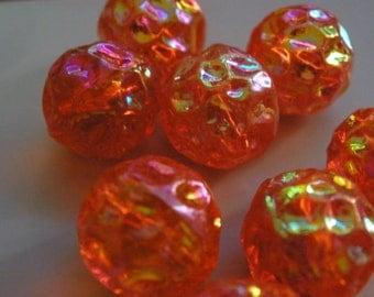Vintage Glass Beads (8) Tangerine AB Textured Beads